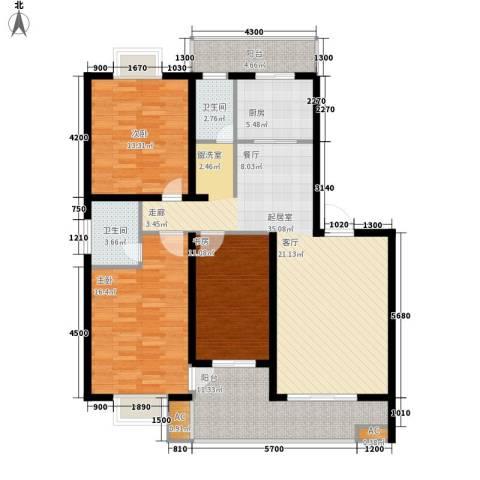 苏建艳阳居3室0厅2卫1厨131.00㎡户型图