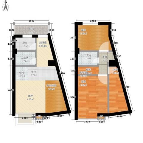 上城3室0厅2卫1厨55.00㎡户型图