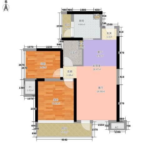 中航天逸2室0厅1卫1厨79.00㎡户型图