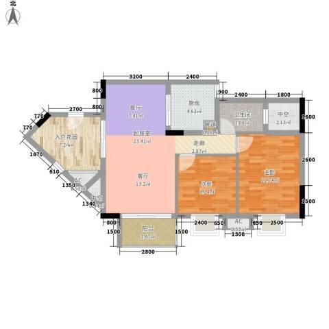 东方・碧海云天2室0厅1卫1厨67.00㎡户型图