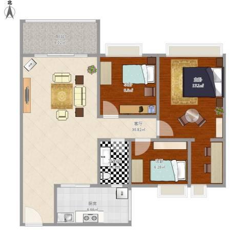 中澳世纪城3室1厅1卫1厨108.00㎡户型图