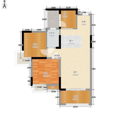 钱隆樽品二期2室0厅1卫1厨90.00㎡户型图