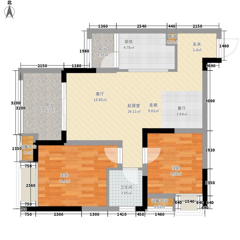 融汇江山融汇半岛7期爱窝组团3C户型2室1厅