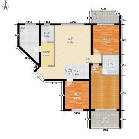 香樟雅郡3室0厅2卫1厨128.00㎡户型图
