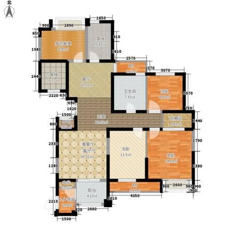 百乐广场3室1厅1卫1厨134.00㎡户型图