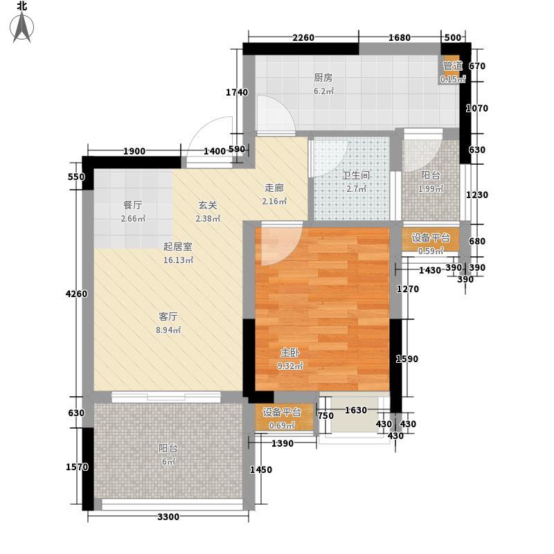 融汇江山融汇半岛7期爱窝组团3A户型1室1厅