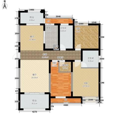 百乐广场3室1厅2卫1厨135.00㎡户型图