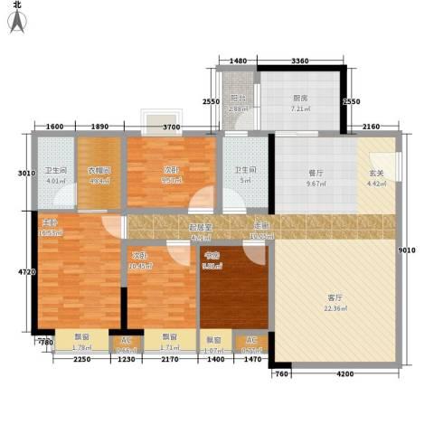 东田丽园五期4室0厅2卫1厨135.00㎡户型图