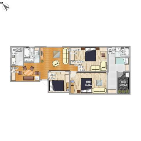 黄山二村3室1厅2卫1厨120.00㎡户型图