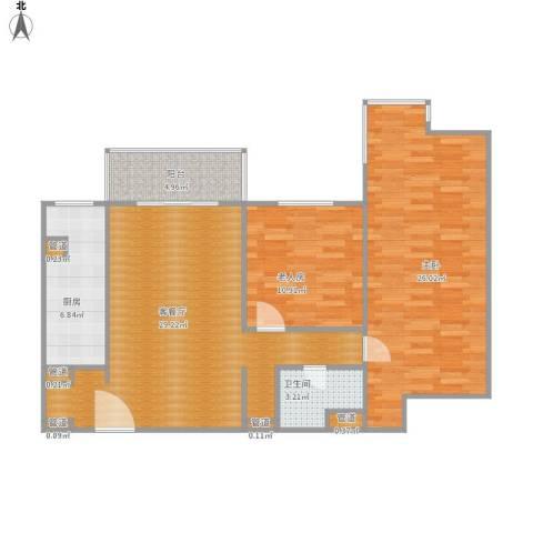 富卓花园2室1厅1卫1厨89.08㎡户型图