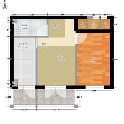民生国际1室0厅1卫1厨41.00㎡户型图