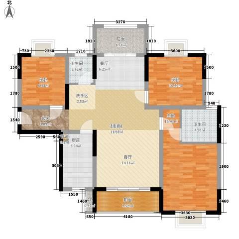 华银天际二期3室0厅2卫1厨127.00㎡户型图