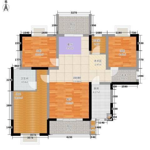 华银天际二期3室0厅2卫1厨124.00㎡户型图