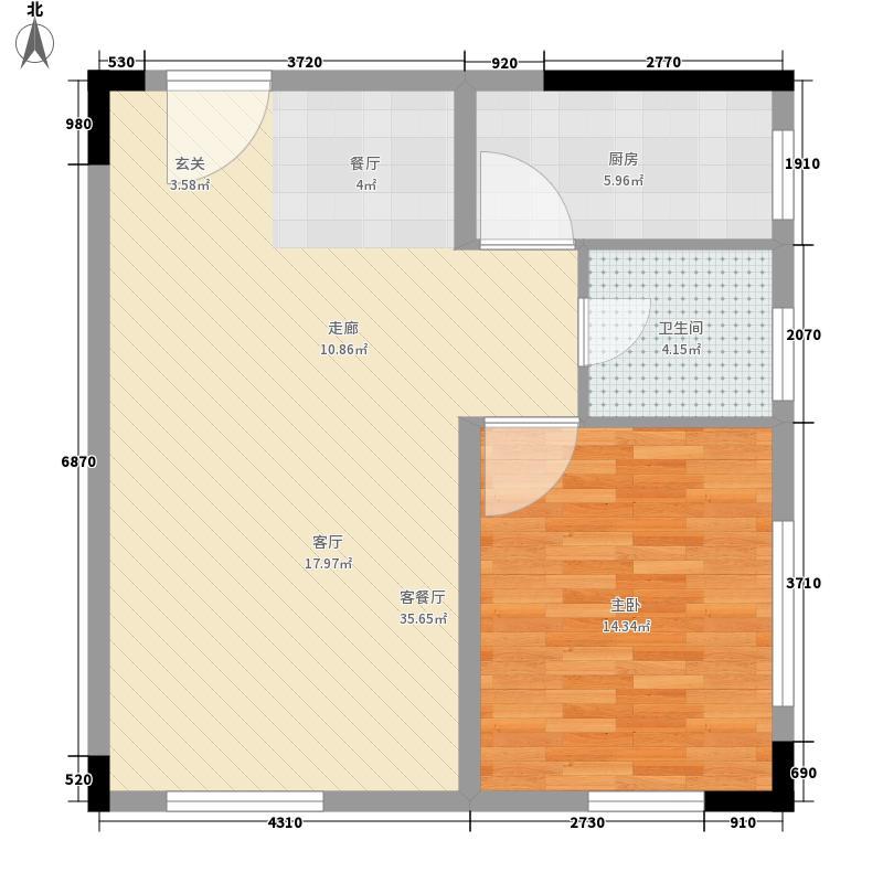峰度66.12㎡V5户型1室2厅