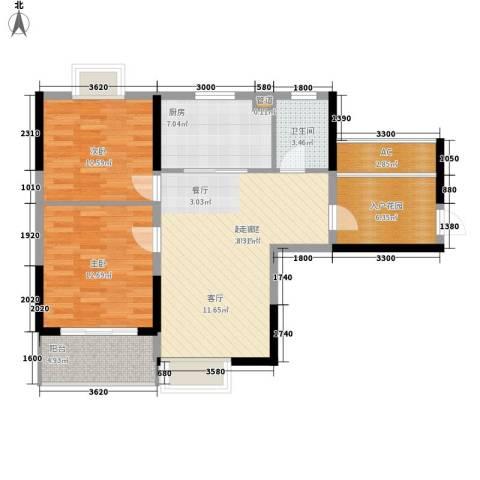 华银天际二期2室0厅1卫1厨87.00㎡户型图