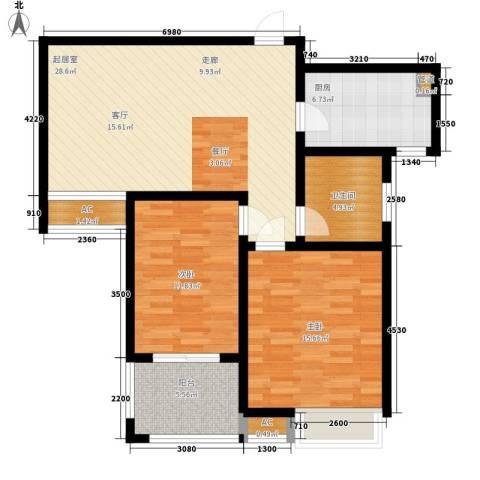 自由都市(乐活家园)2室0厅1卫1厨87.00㎡户型图