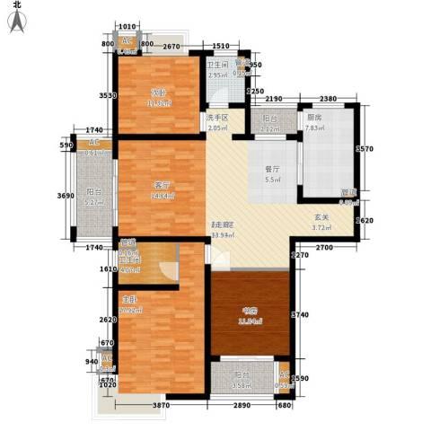 自由都市(乐活家园)3室0厅2卫1厨127.00㎡户型图