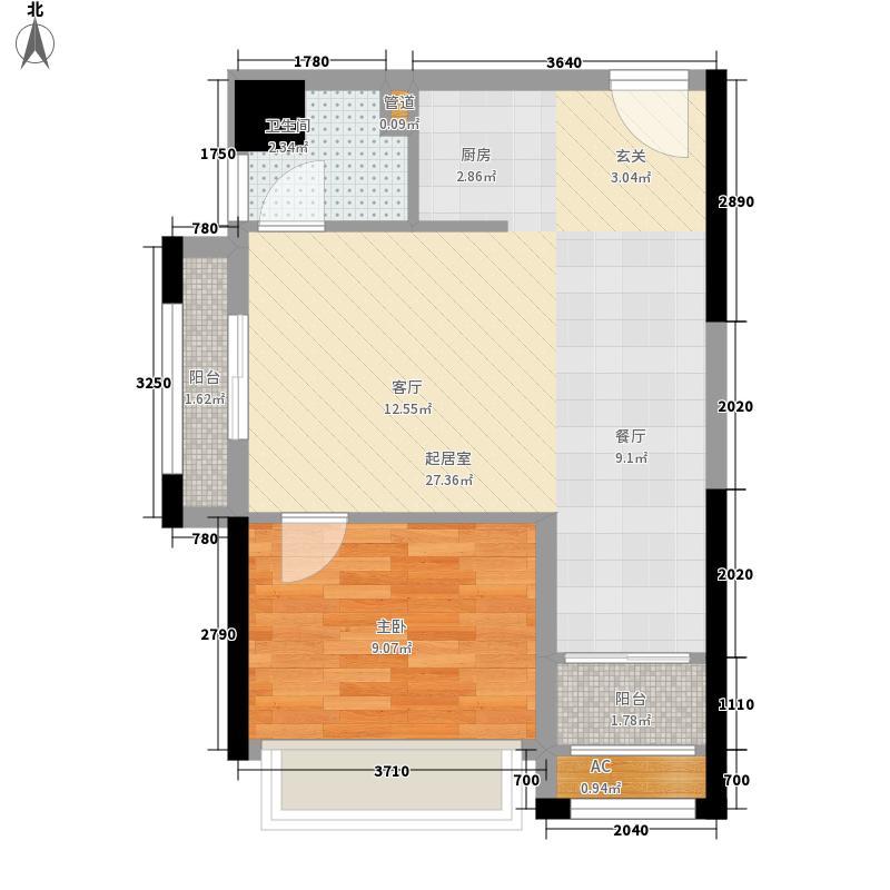 博仕后家园户型图C2户型 1室2厅1卫1厨