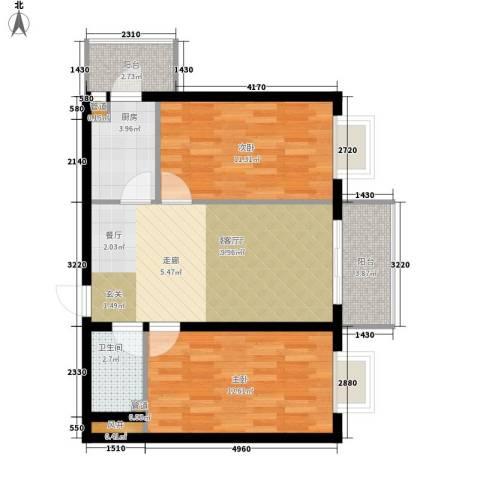 民生国际2室1厅1卫1厨66.00㎡户型图