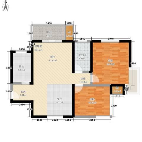 长青城2室0厅1卫1厨90.00㎡户型图