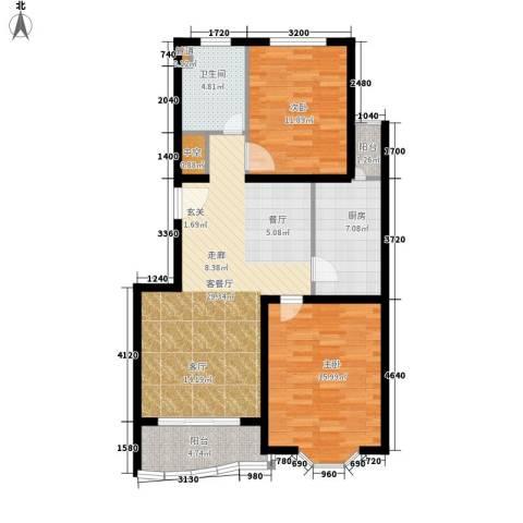 鸿发家园2室1厅1卫1厨89.00㎡户型图