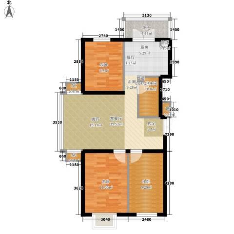 民生国际3室1厅1卫0厨76.00㎡户型图