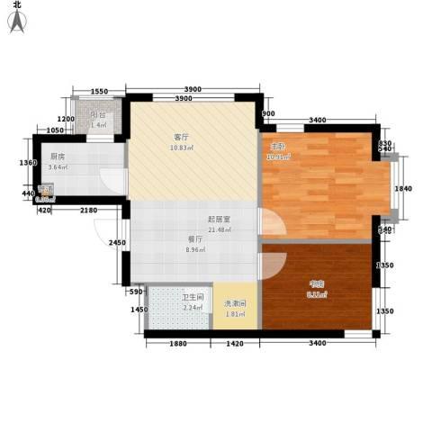 锦绣江南2室0厅1卫1厨68.00㎡户型图