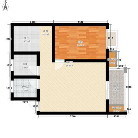 观澜湖高尔夫酒店公寓1室1厅1卫1厨78.00㎡户型图