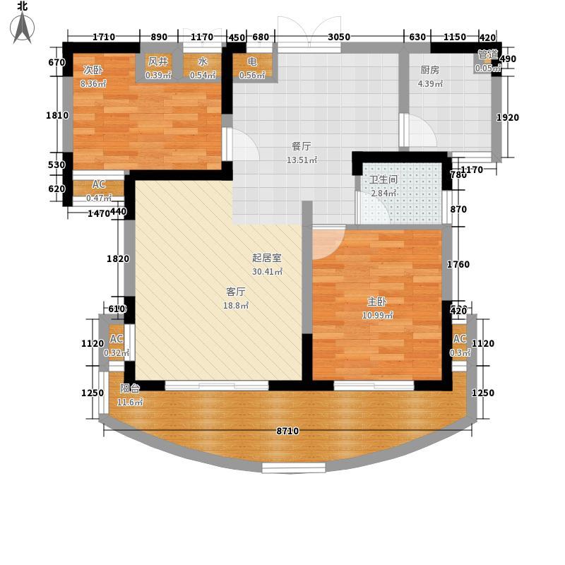 北环阳光81.20㎡北环阳光户型图2期E32室2厅1卫1厨户型2室2厅1卫1厨