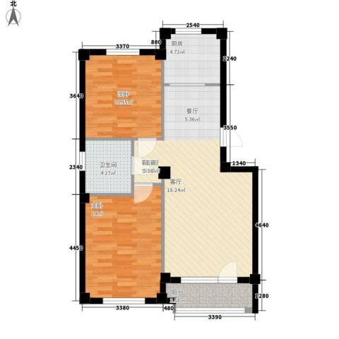 富贵南山2室1厅1卫1厨80.00㎡户型图