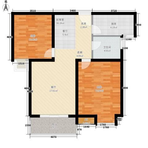 长青城2室0厅1卫1厨88.00㎡户型图