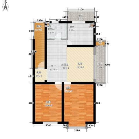锦绣江南2室0厅1卫1厨96.00㎡户型图