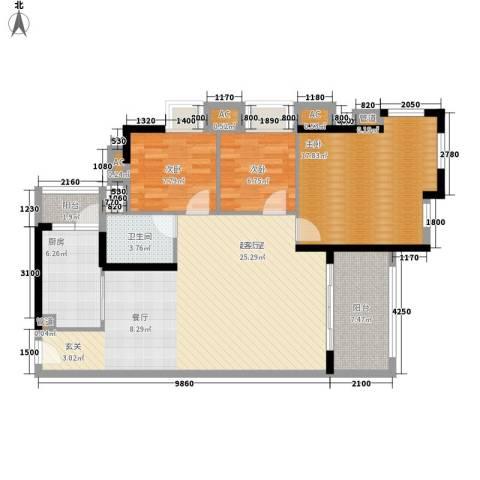 半山雍景苑3室0厅1卫1厨102.00㎡户型图