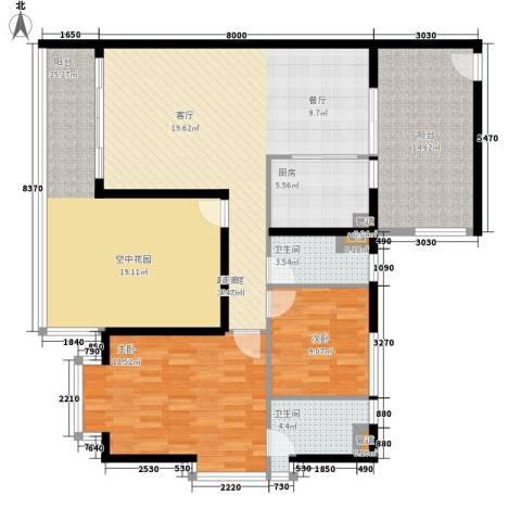 雍晟岭南首府2室0厅2卫1厨114.80㎡户型图
