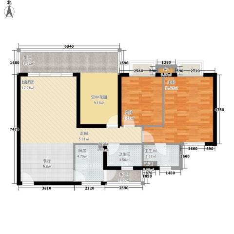雍晟岭南首府2室0厅2卫1厨106.00㎡户型图