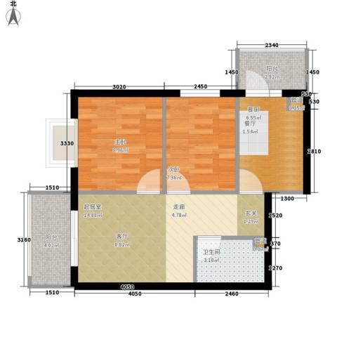 民生国际2室0厅1卫0厨52.00㎡户型图