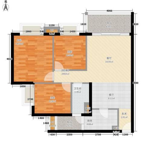 雍晟岭南首府3室0厅1卫1厨94.00㎡户型图