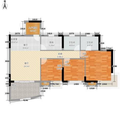 海韵假日休闲公寓3室0厅2卫1厨107.00㎡户型图