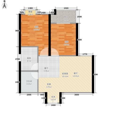 上林沣苑2室0厅1卫1厨85.00㎡户型图