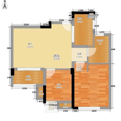 万科城新里程2室0厅1卫1厨75.00㎡户型图