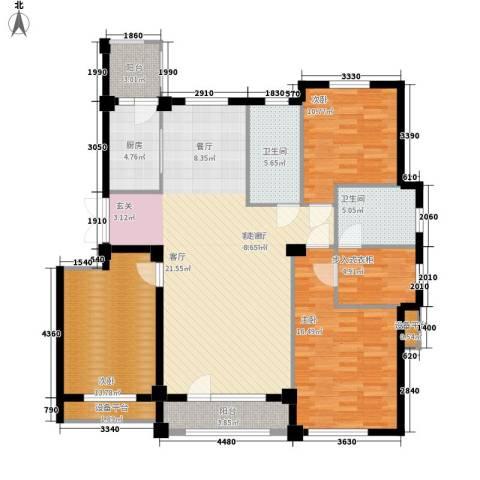 富贵南山3室1厅2卫1厨133.00㎡户型图
