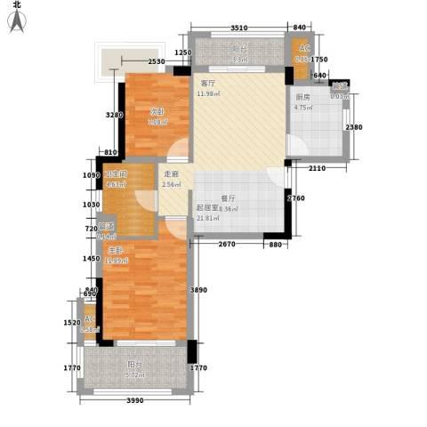 万科城新里程2室0厅1卫1厨80.00㎡户型图