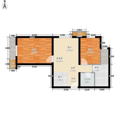 长青城2室0厅1卫1厨80.00㎡户型图