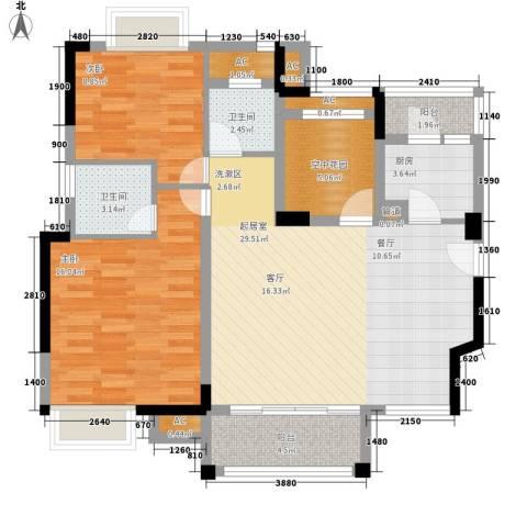 万科城新里程2室0厅2卫1厨114.00㎡户型图