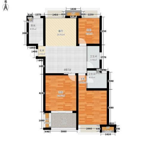 栖霞栖庭3室0厅2卫1厨93.00㎡户型图