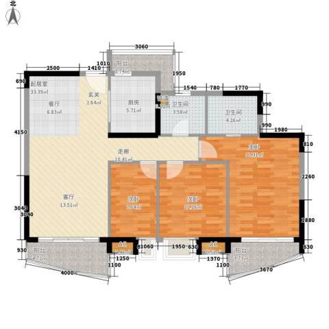 长青城3室0厅2卫1厨108.00㎡户型图