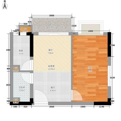 水岸立方1室0厅1卫1厨52.00㎡户型图