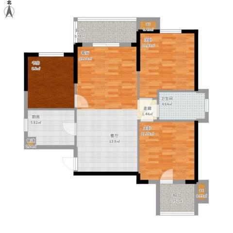 名湖豪庭3室0厅1卫1厨114.00㎡户型图