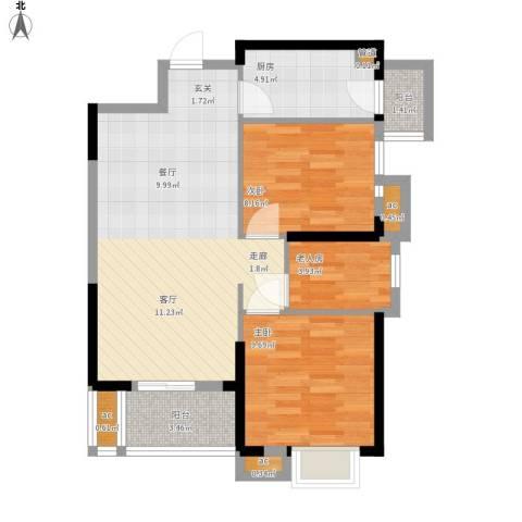 名湖豪庭3室0厅0卫1厨83.00㎡户型图