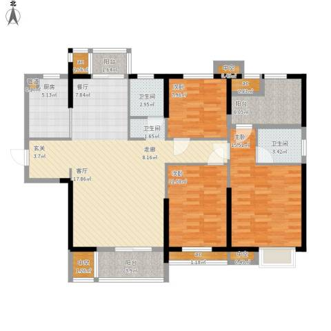 名湖豪庭3室0厅2卫1厨147.00㎡户型图